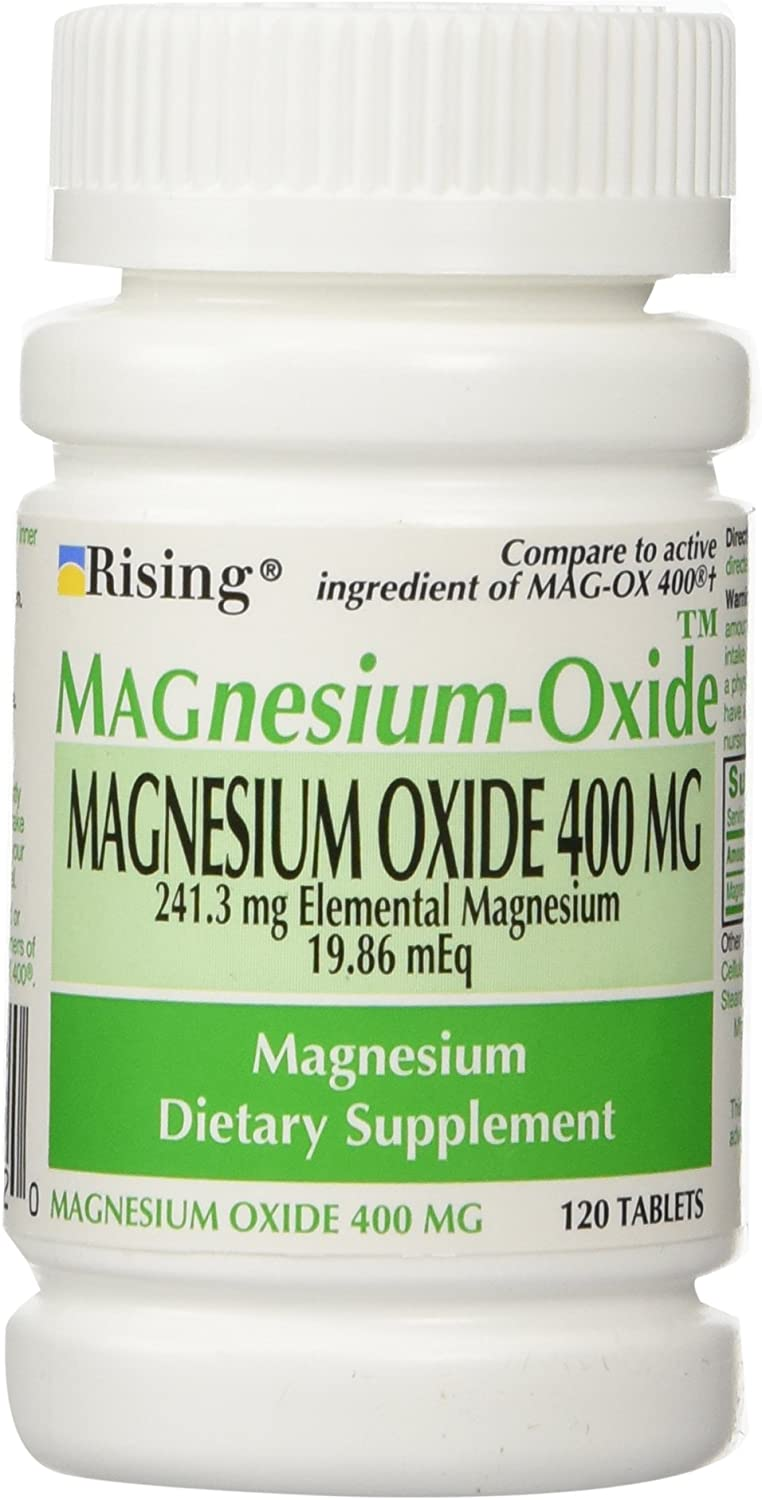 Magnesium Oxide 400 mg Dietary Supplement Tablets - 120 Tablets by Mag-Ox 400,3 Pack