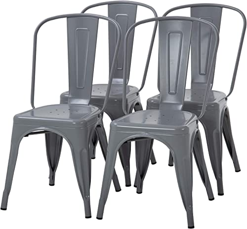 Dining Chairs Set of 4 Indoor Outdoor Chairs Patio Chairs Furniture Kitchen Metal Chairs 18 Inch Seat Height 330LBS Weight Capacity Restaurant Chair Stackable Chair Tolix Side Bar Chairs,Gray