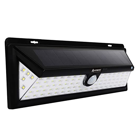 90LEDs 1000 Lúmenes Focos Solares con Sensor de Movimiento, Impermeable, Gran Ángulo 120°, Proporcionar hasta 12 HORAS Con 3 Modos Rango de Sensor 8-10m: ...