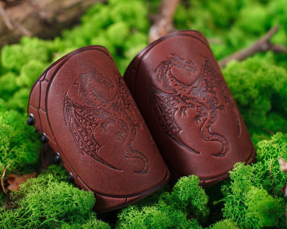 LARP Accessories Viking Bracers Serpent Dragon Bracers Brown- Length 5 Leather Wristbands LARP Gauntlet Leather Cuff Bracer