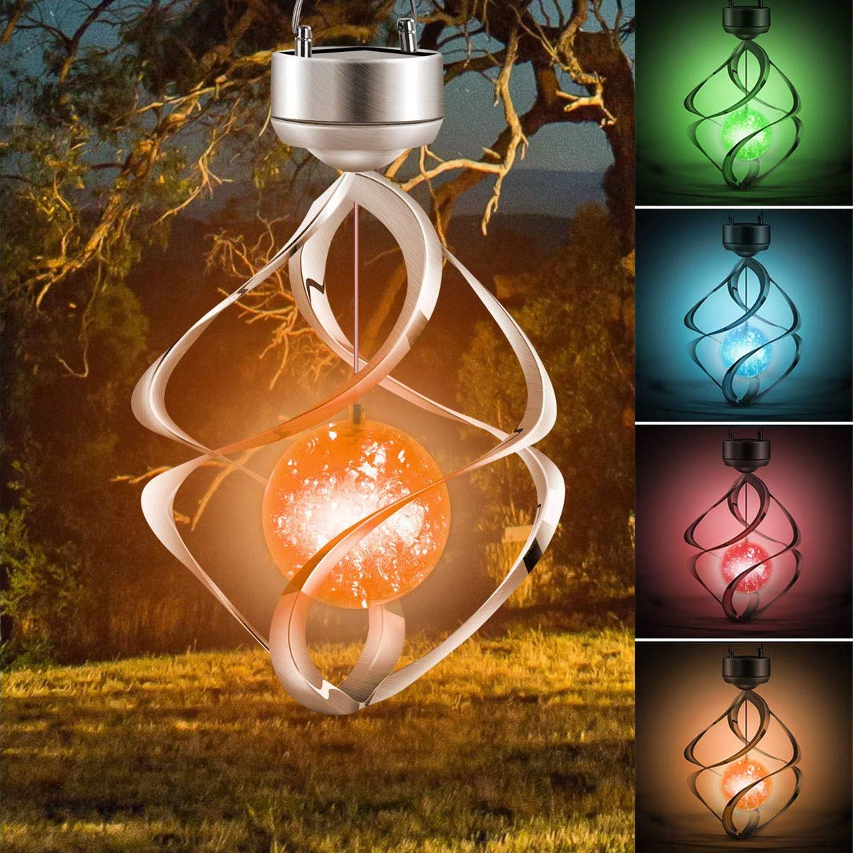 AMWGIMI Hanging Solar Lights Outdoor Wind Chimes Lights LED Colour Changing Hanging Light Waterproof Spiral Spinner Lamp for Design Decoration for Garden, Patio, Balcony Outdoor & Indoor by AMWGIMI