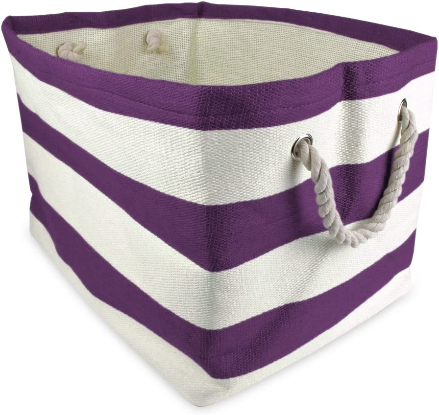 11x10x9 Woven Paper Storage Bin DII Rugby Eggplant Collapsible