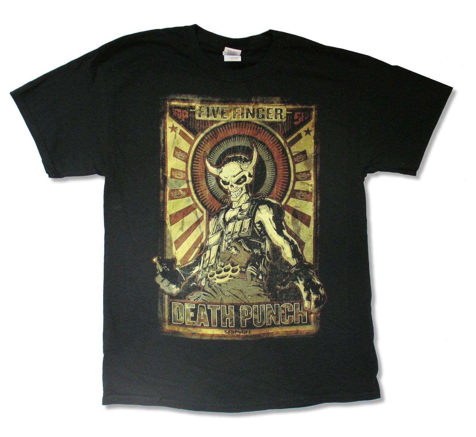 Adult Five Finger Death Punch Mercenary Tour 14 Black T Shirt