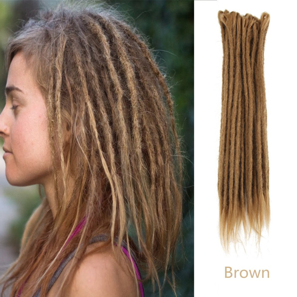 AOSOME 18inch Pack of 20 Dreadlock Hair Extension Handmade Synthetic Hair Reggae Hair, Brown Color