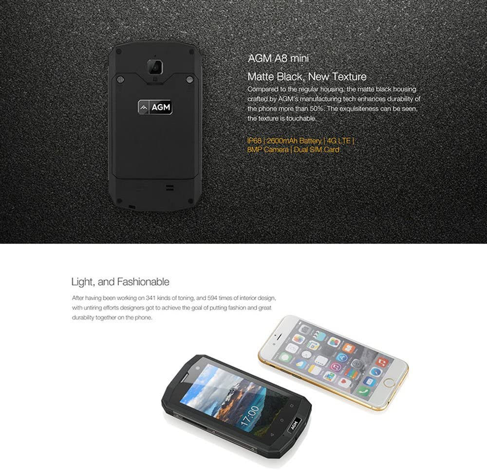 AGM A8 Mini Smartphone IP68 Qualcomm Snapdragon 210 1.1GHz Quad ...