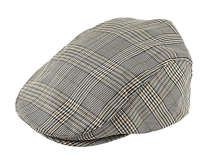 a874247b23 Mega Cap Khaki Plaid IVY newsboy Cap
