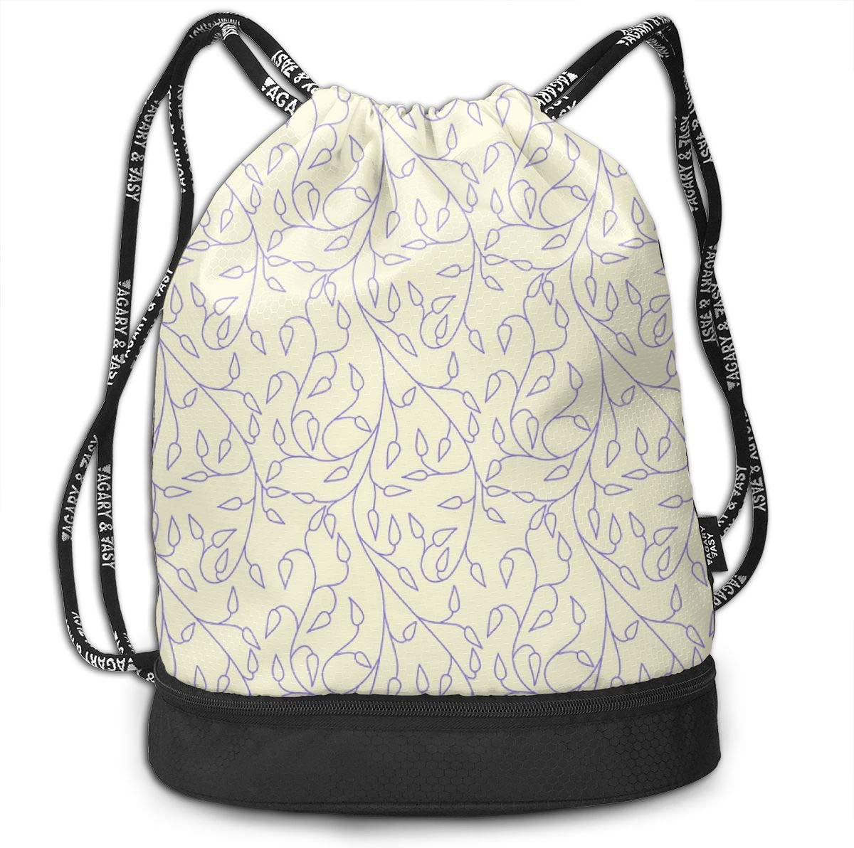 Vll Periwinkle Vines Ed Drawstring Backpack Sports Athletic Gym Cinch Sack String Storage Bags for Hiking Travel Beach