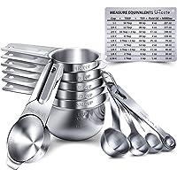 Juego de 15 tazas de medición, U-Taste tazas de medición y cucharas de acero inoxidable 18/8: 7 tazas de medición y 7…