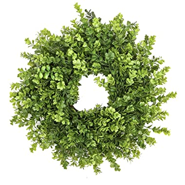 Fargal 18  Door Artificial Wreath Real Wicker Frame, Faux PVC Boxwood Leaves | UV Resistant Farmhouse Home Décor | Built-in Hanging Loop | Sturdy Indoor, Outdoor Decoration