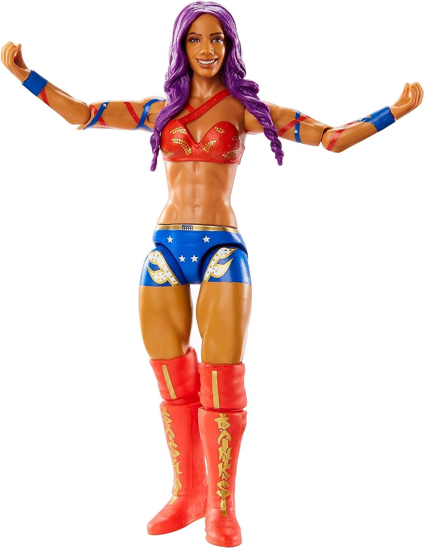 WWE - Figura de acción del luchadora Sasha Banks Juguetes niños +6 años (Mattel GCB61)