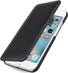 """StilGut Book Type Case con Clip, Custodia in Vera Pelle a Libro per Apple iPhone 6s (4.7""""), Nero"""