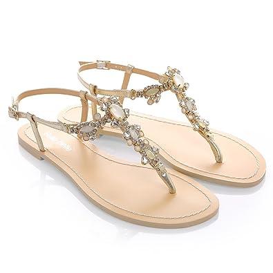 f37ac68ba461 Sandal Crystal Gold Beach Wedding Honeymoon LUN6