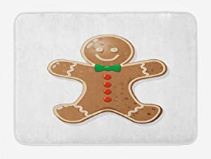 Ambesonne Gingerbread Man Bath Mat, Iconic Seasonal Baked Pastry Sugary Treats Joyous Fun Xmas, Plush Bathroom Decor Mat with Non Slip Backing, 29.5