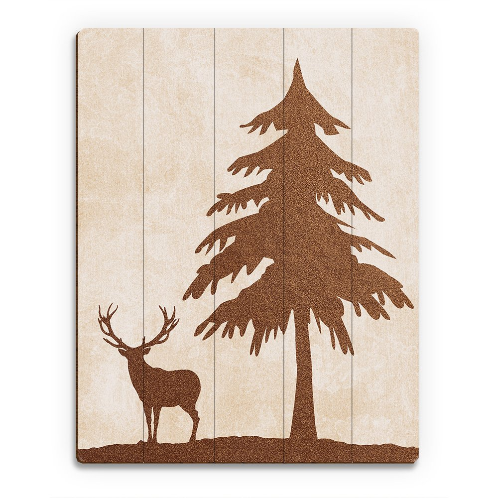 Amazon.com: Brown Silhouette Deer: Sihlouette of Buck & Tree on Tan Parchment-pattern for Hunting Lodge, Cabin Wall Art Print on Canvas: Posters & Prints