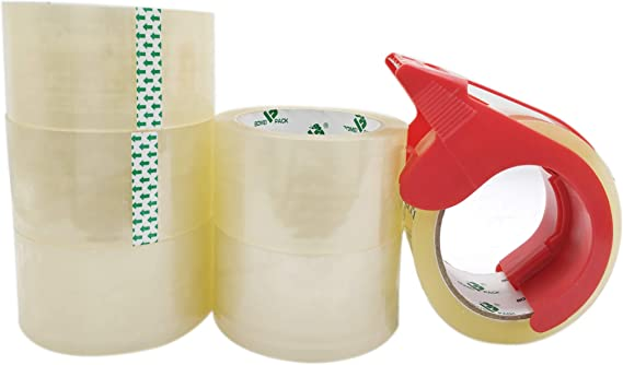 Heavy Duty Refill Tape for Shipping Moving and Packaging 12 Rolls Clear Packing Tape Rolls with Free Dispenser 2.4Mil 1.88 Inch x 60 Yard BOMEI PACK