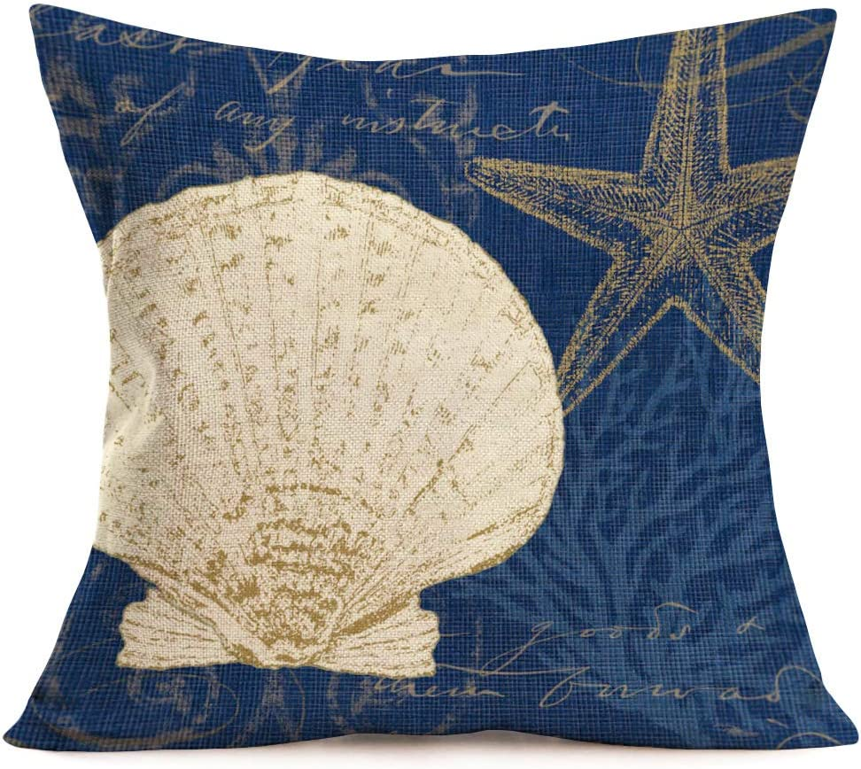Sea Theme Shell Conch Starfish Throw Pillow Covers Cotton Linen Navy Coral Background Decorative Mediterranean Style Ocean Decor Cushion Case 18