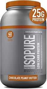 Isopure Low Carb, Vitamin C and Zinc for Immune Support, 25g Protein, Keto Friendly Protein Powder, 100% Whey Protein Isolate, Flavor: Chocolate Peanut Butter, 3 Pounds (Packaging May Vary)