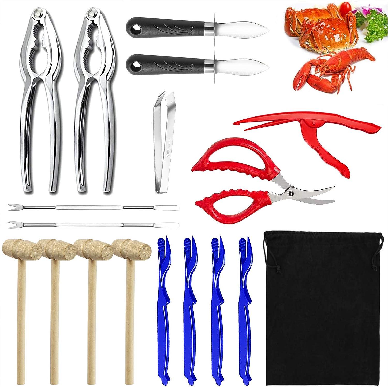 18 Pcs Seafood Tools Set,4 Lobster Shellers,2 Crab Crackers, 2 oyster knife,2 Crab Leg Forks,1 Shrimp Deveiner Tool,1 Seafood Scissor,1 Storage Bag,4 Crab Hammers,1 Fish Bone Tweezers