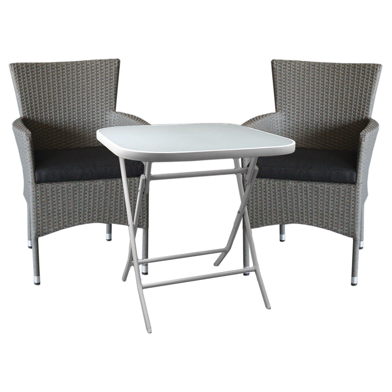 3tlg Bistro Und Balkonmöbel Set Sitzgruppe Gartengarnitur