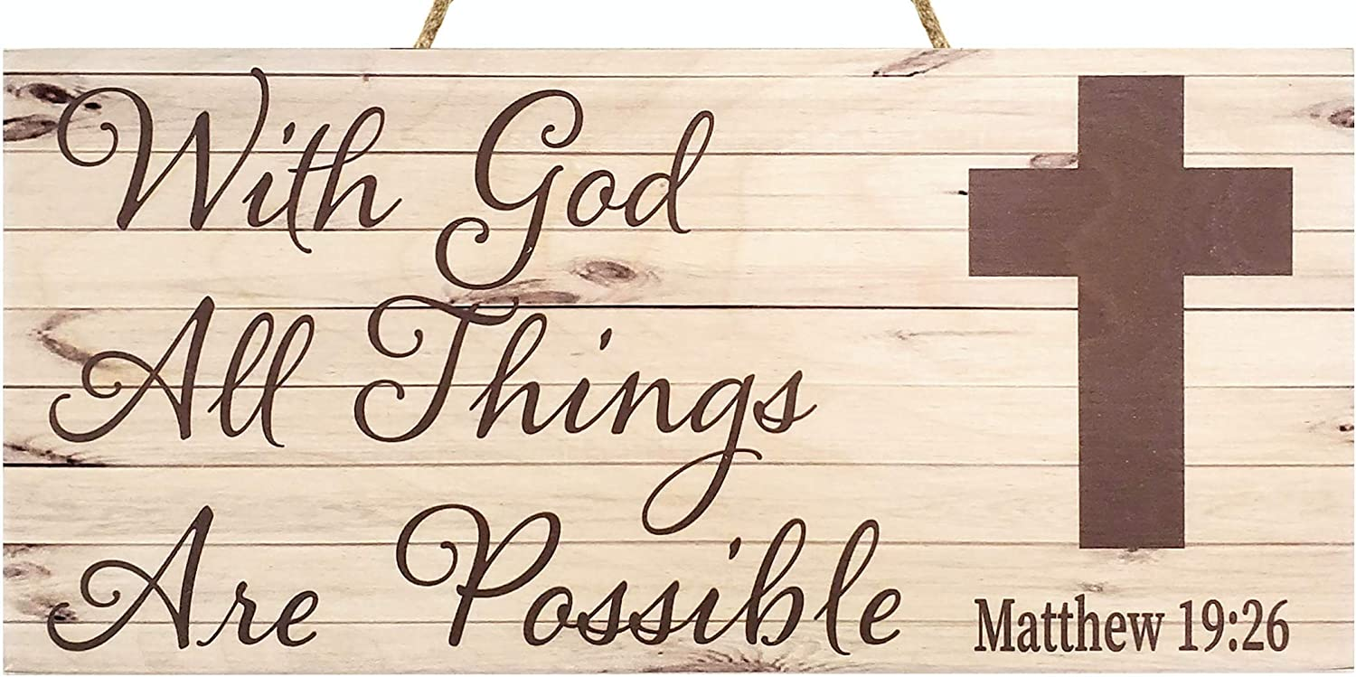 JennyGems - All Things Are Possible Matthew 19:26 - Inspirational Gifts and Verses - Shelf Knick Knacks