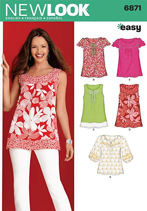 New Look 6871 Size A Misses\' Tops Sewing Pattern, Multi-Colour ...