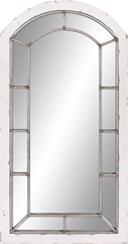 Patton Wall Decor 24×44 Distressed White and Antique Silver Arch Windowpane Wall Mounted Mirror