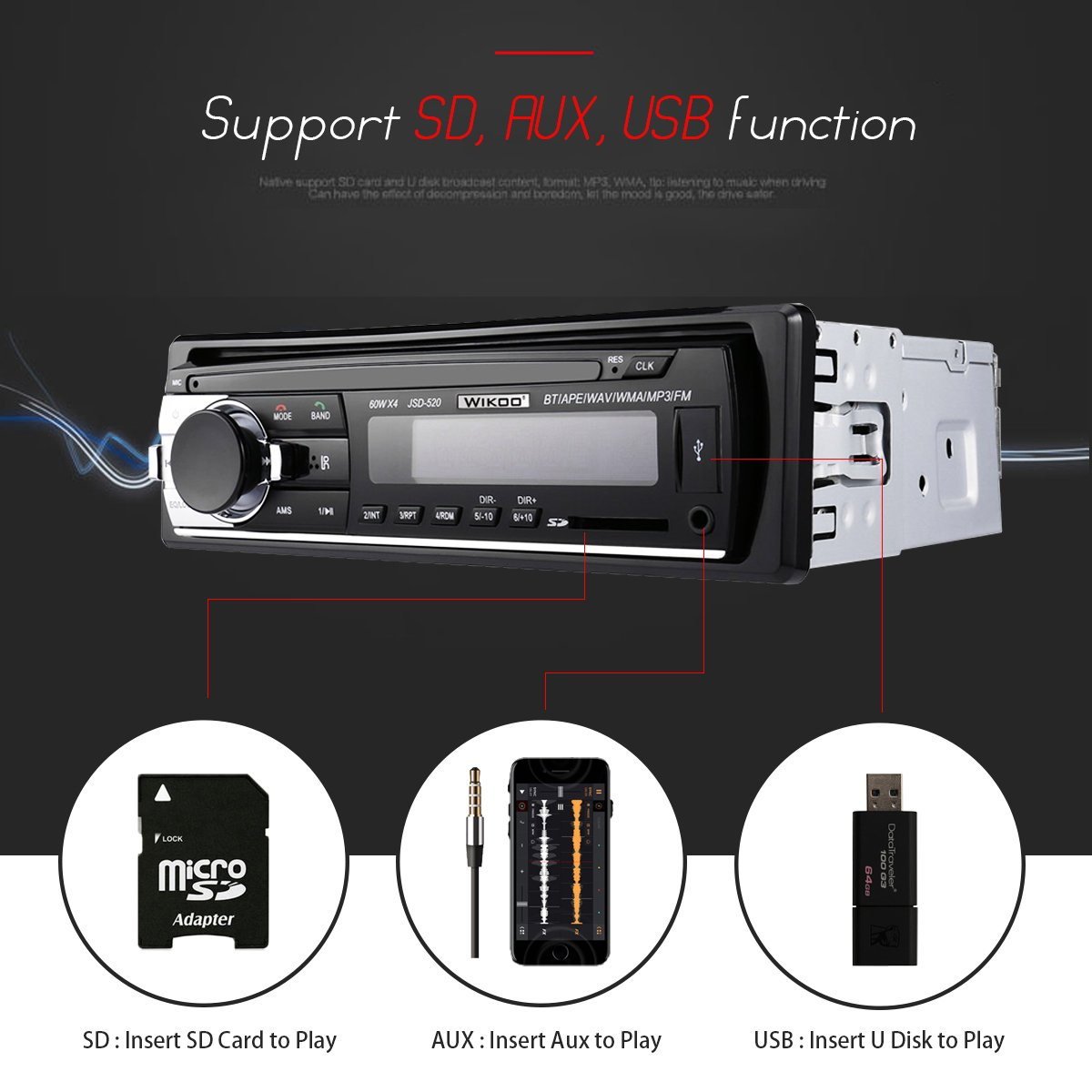 Digital Car Stereo - Wikoo Single-Din Bluetooth Car Stereo In Dash with Remote Control - Receivers USB/SD/Audio - MP3 Player/FM Radio, Supports Hands Free Calling by Wikoo (Image #3)