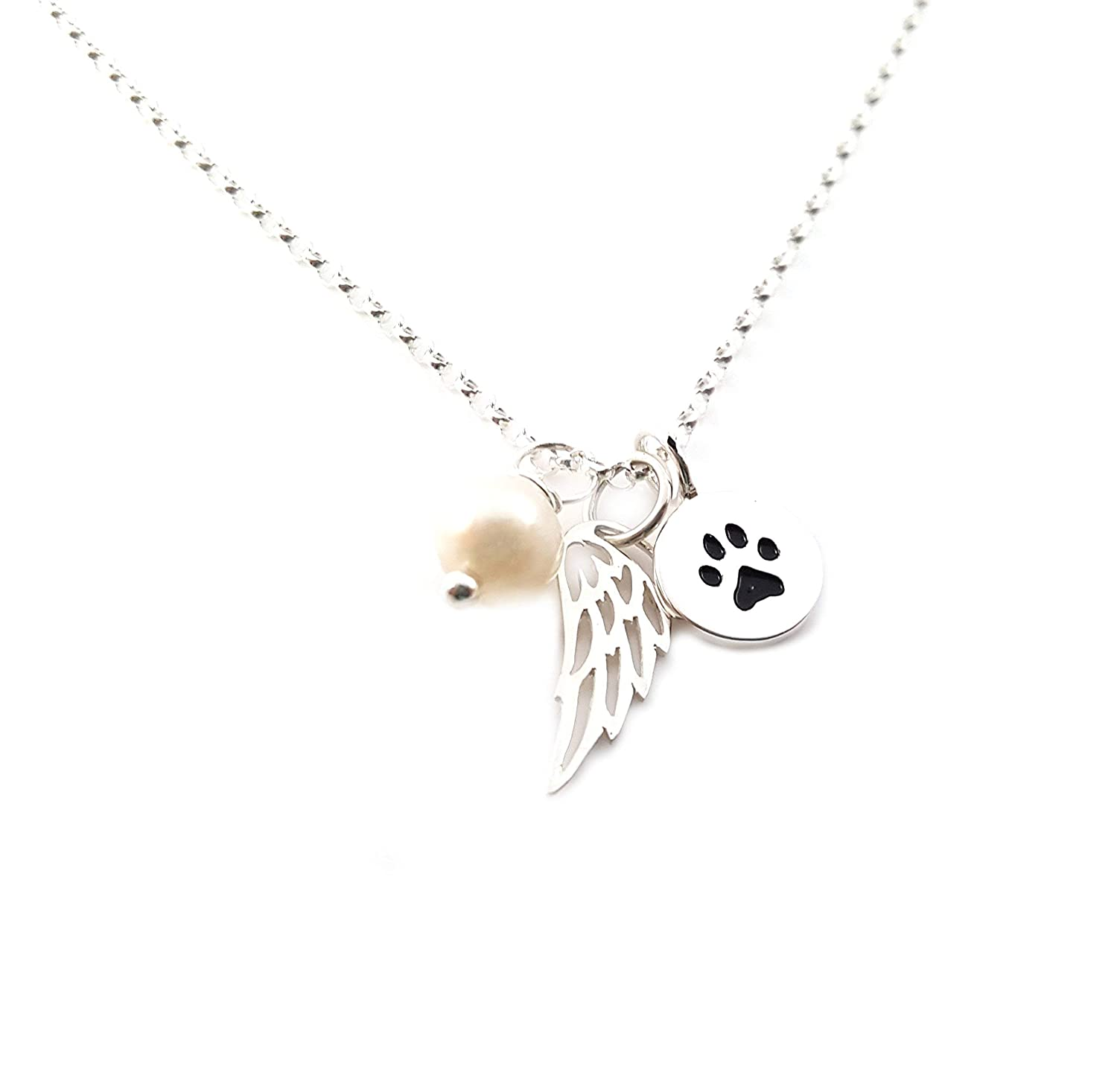 Dog Angel Memorial Necklace Dog Memorial Always Angel Wing Mini Dog Charm Necklace with 30 Sterling Silver Chain