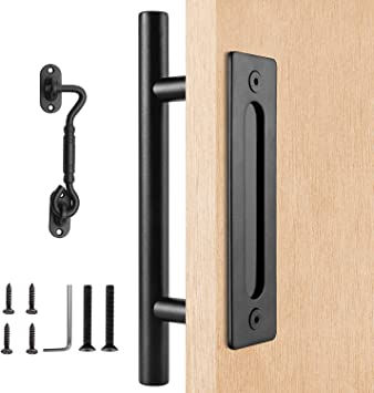 Kit de tirador de puerta corredera de 12 pulgadas con placa de montaje empotrado y gancho de cabina de elecpro: Amazon.es: Bricolaje y herramientas