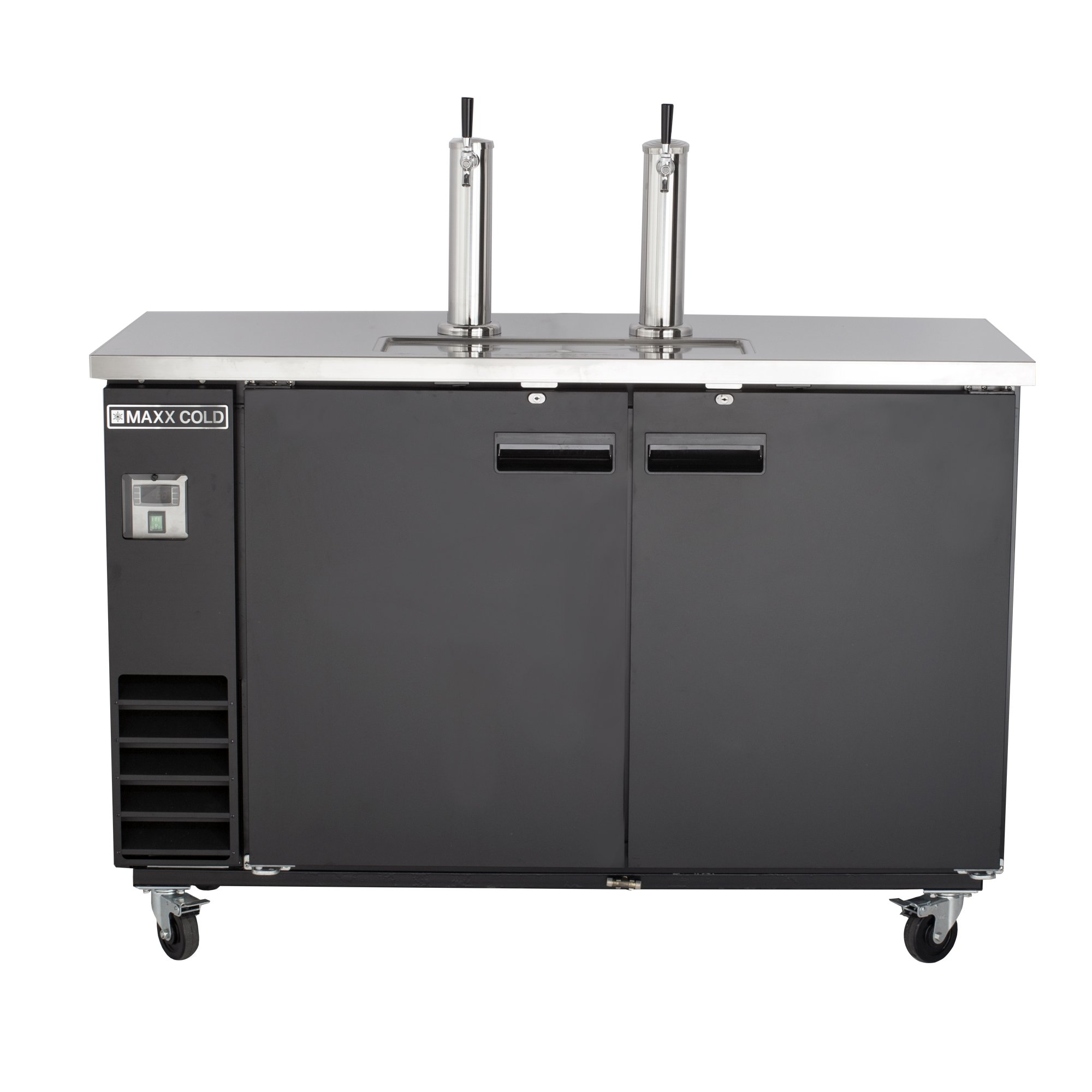 Maxx Cold MXBD60-2B Commercial NSF Bar Direct Draw Kegerator Beer Dispenser Cooler with 2 Towers Taps Holds 2 Half 1/2 Size Keg, 61.1 Inch Wide 14.2 Cubic Feet , Black
