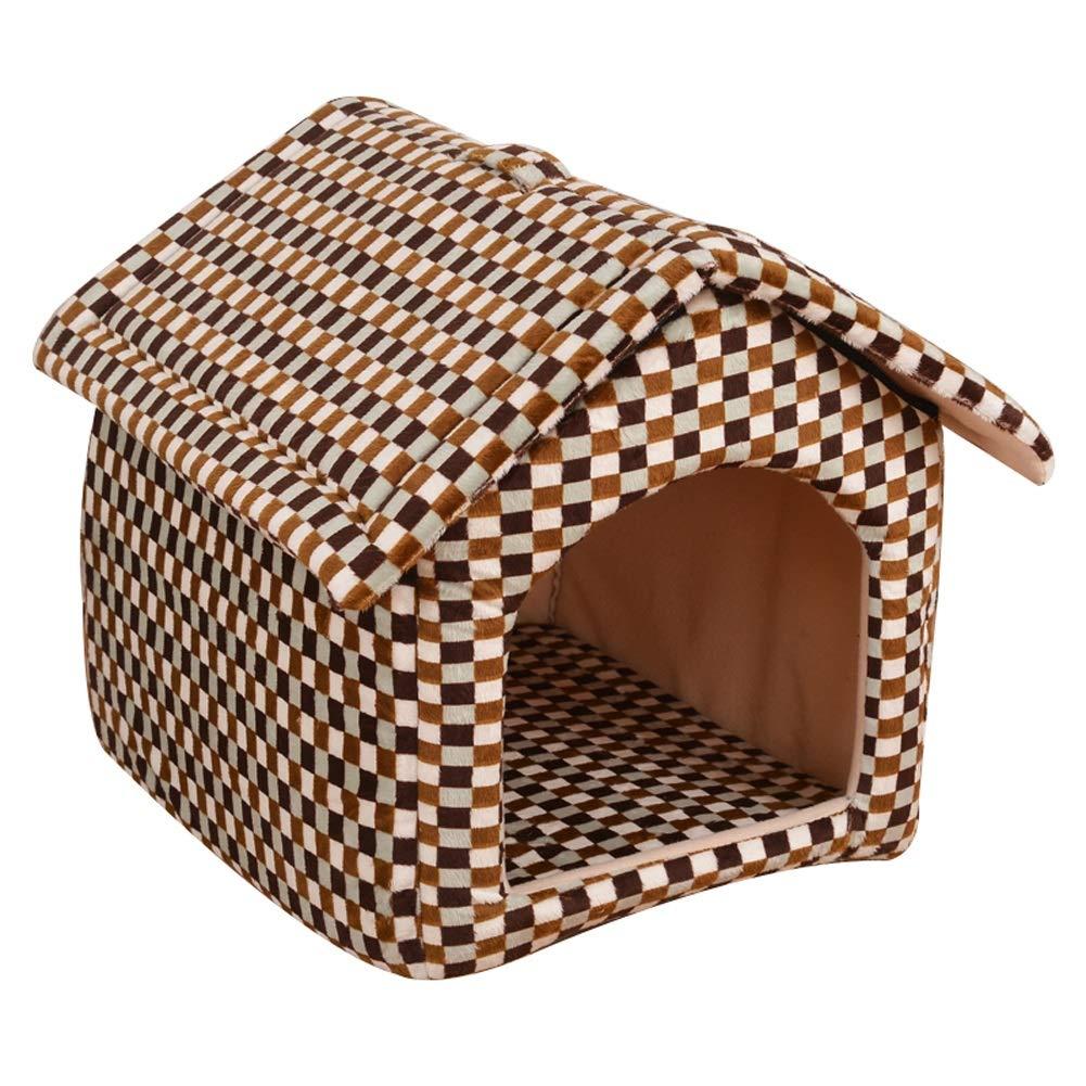 C MPet house Fashion Leopard Style Portable Foldable Pet House Cat Dog Room Bed 3 colors 3 Size (color   C, Size   M)