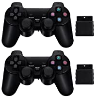 2 Pack Wireless Controller 2.4G Compatible with Sony Playstation 2 PS2 (Black)
