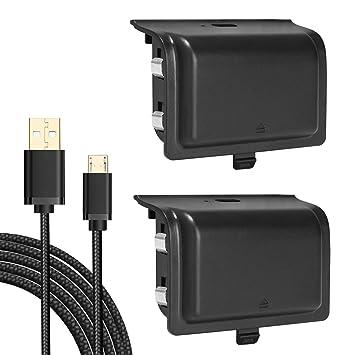 KINGTOP 2 Piezas de Batería Recargable 1200mAh del Controlador Xbox One Cargador Extendido con 3 Metros Cable de Carga USB para Xbox One Xbox One S ...