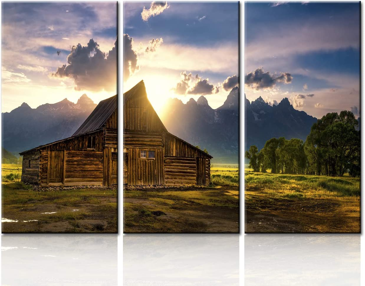 TUMOVO Native American Home Decor for Living Room Country Scene Wall Art Moulton Barn Paintings Nature Scene Canvas Landscape Artwork Giclee Framed Stretched Gallery Wrapped Ready to Hang(40''x60'')