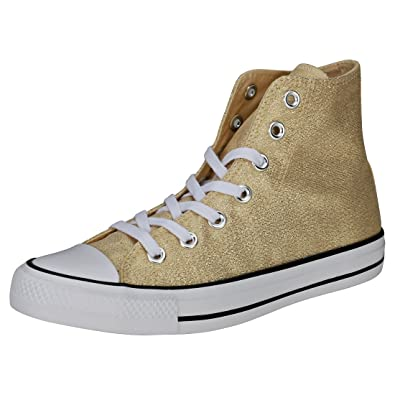 fd08e45cafb4 Converse Chuck Taylor All Star Hi Womens Trainers Gold White - 4 UK