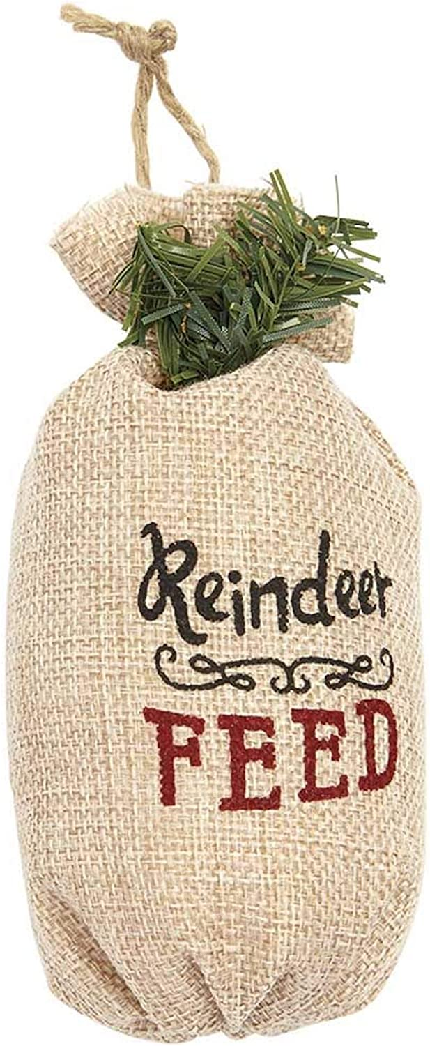 Boxed Essentials Reindeer Feed Sack Christmas Ornament, Tree Decorations, Holiday Christmas Ornament