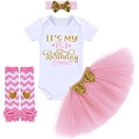 It's My 1st / 2nd Birthday Outfit Baby Girl Romper Tutu Skirt Glitter Sequin Bowknot Headband Leg Warmers Clothes 4pcs…