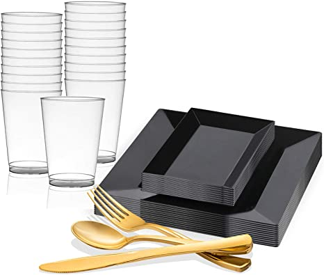 Amazon Com Kaya Collection Square And Rectangle Black Disposable Plastic Dinnerware Party Package Includes Square Dinner Plates Rectangle Salad Dessert Plates Gold Cutlery Tumblers 120 Person Package Health Personal Care