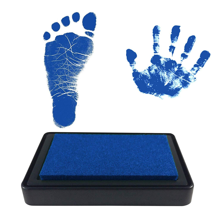 ideales Geschenk kiinda Baby Fu/ß- oder Handabdruck Set in 3 Farben leicht von der Haut abwaschbar SET rot//blau//schwarz sichere wiederverwendbare Stempelkissen