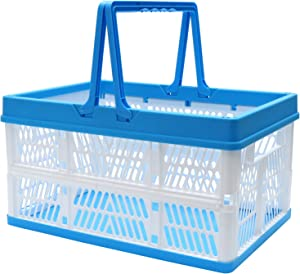 DEAOTEK 27 Liter Collapsible Shopping Basket - Plastic Folding Storage Crate Stackable Grocery Bin Container with Handle, for Milk Toys Food Clothes Tools Books, Hold up to 55 Ibs