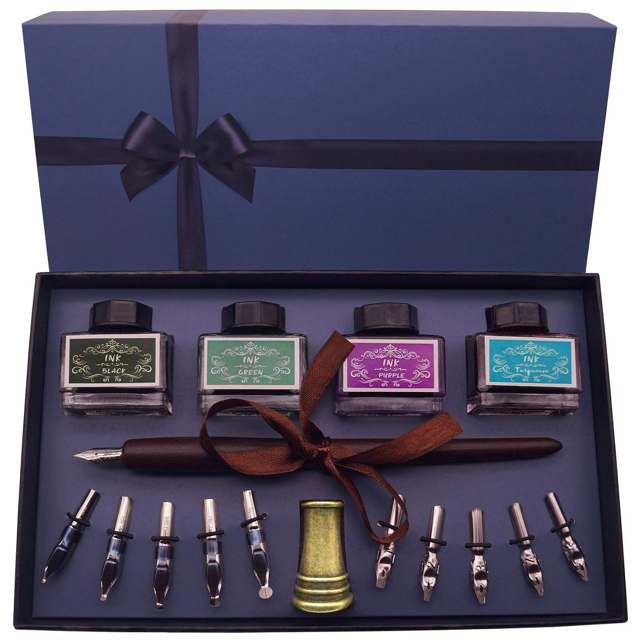 Plotube Calligraphy Pen Set - Includes Wooden Dip Pen, 11 Nibs, 4 Color Ink Bottle, Antique Pen Holder, Instructions by plotube