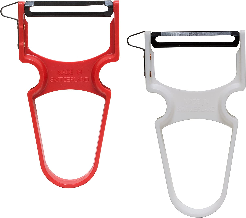 Swiss Peeler Classic, Carbon Steel Blade, Plastic Handle, Set of 2, Set, White, Red