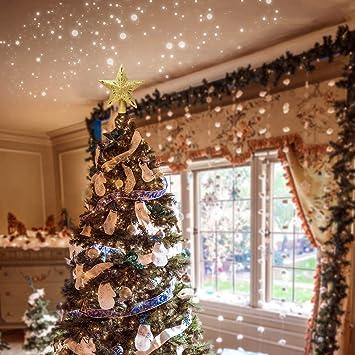 Dorado Adorno para /árbol de Navidad Topper de /árbol de Navidad con Luces Proyector Topper de /árbol de Navidad iluminado Brillo LED con Decoraci/ón Proyecci/ón de Nieve