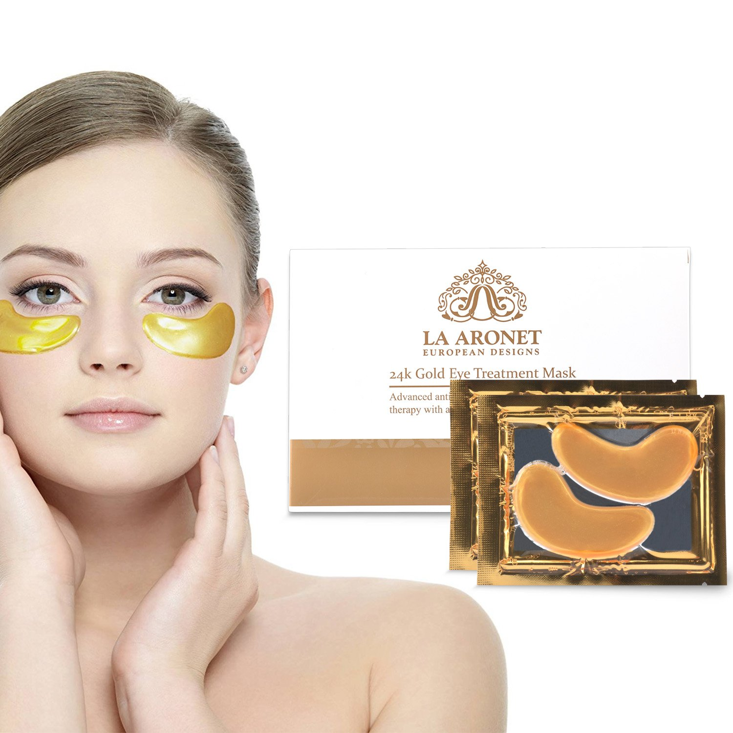 LA ARONET 24K Gold Eye Treatment Masks - (Pack of 20 Pairs) with Anti-Aging Wrinkle Reduction Collagen and Nutrients to Reduce Dark Circles, Bags, and Eye Puffiness, 5 EXTRA BONUS PAIRS included by LA ARONET (Image #5)