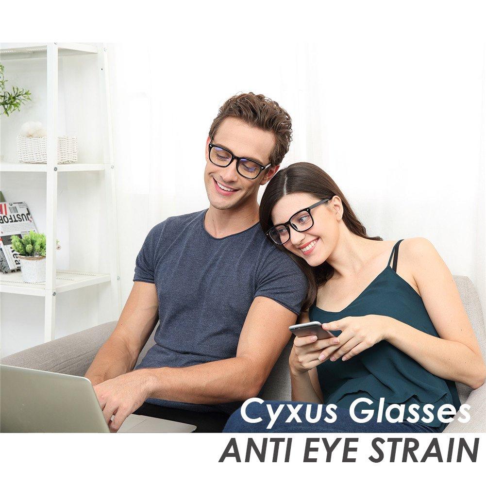 Cyxus Blue Light Filter Computer Glasses for Blocking UV Headache [Anti Eye Eyestrain] Transparent Lens, Unisex (Men/Women) (classic black) by Cyxus (Image #3)