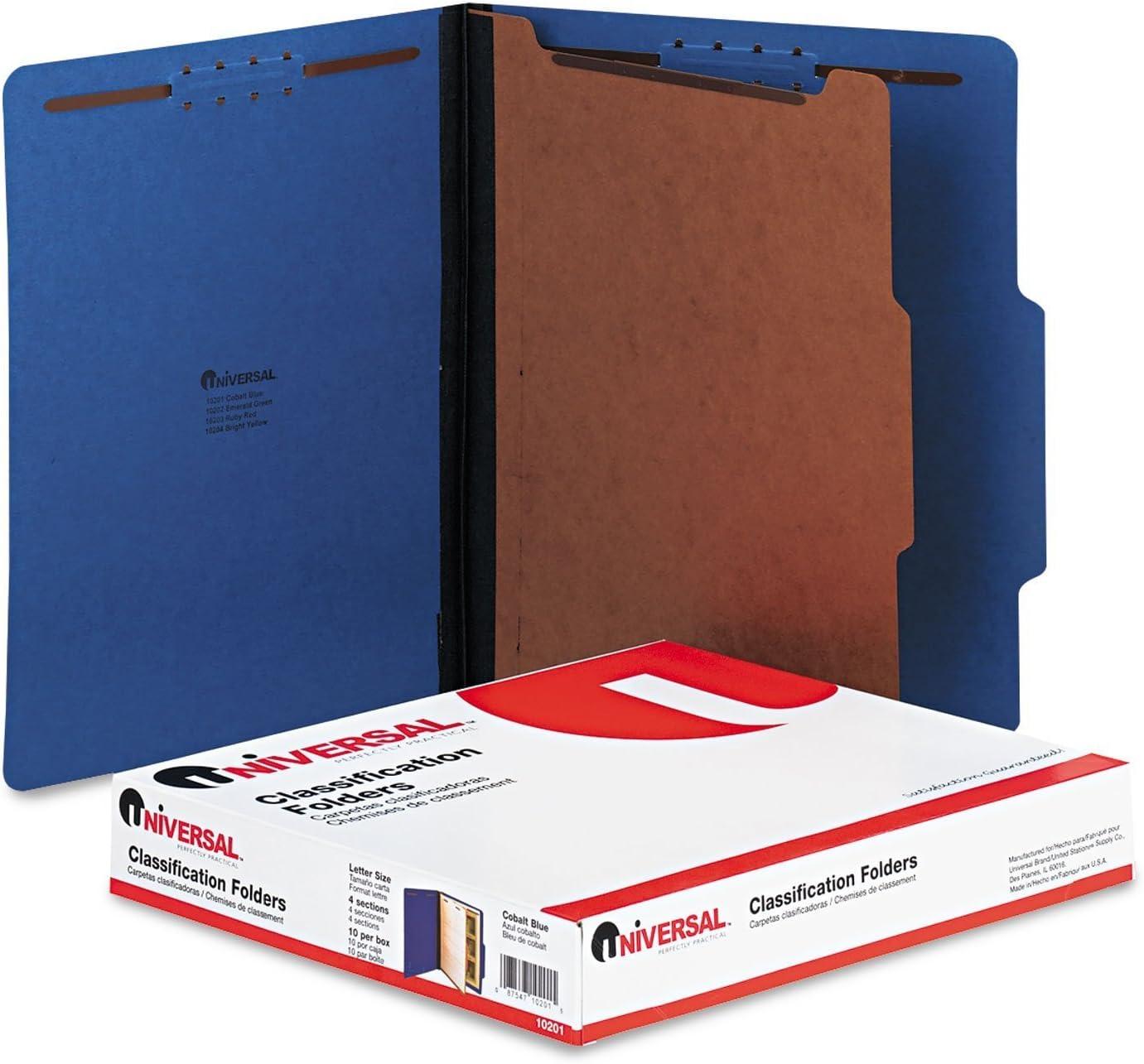 Red Letter 10//Box Universal 10270 Pressboard Classification Folder Six-Section
