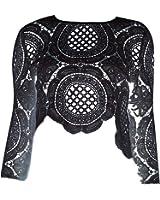 Froomer Women Sexy Lace Hollow Crop Tops Long Sleeve Zipper Blouse
