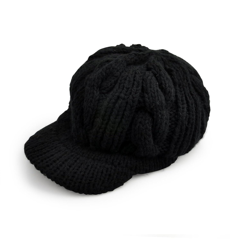 Women Girls Woolen Knitted Beanie Hat Brim Cap Thick Winter Hat Black