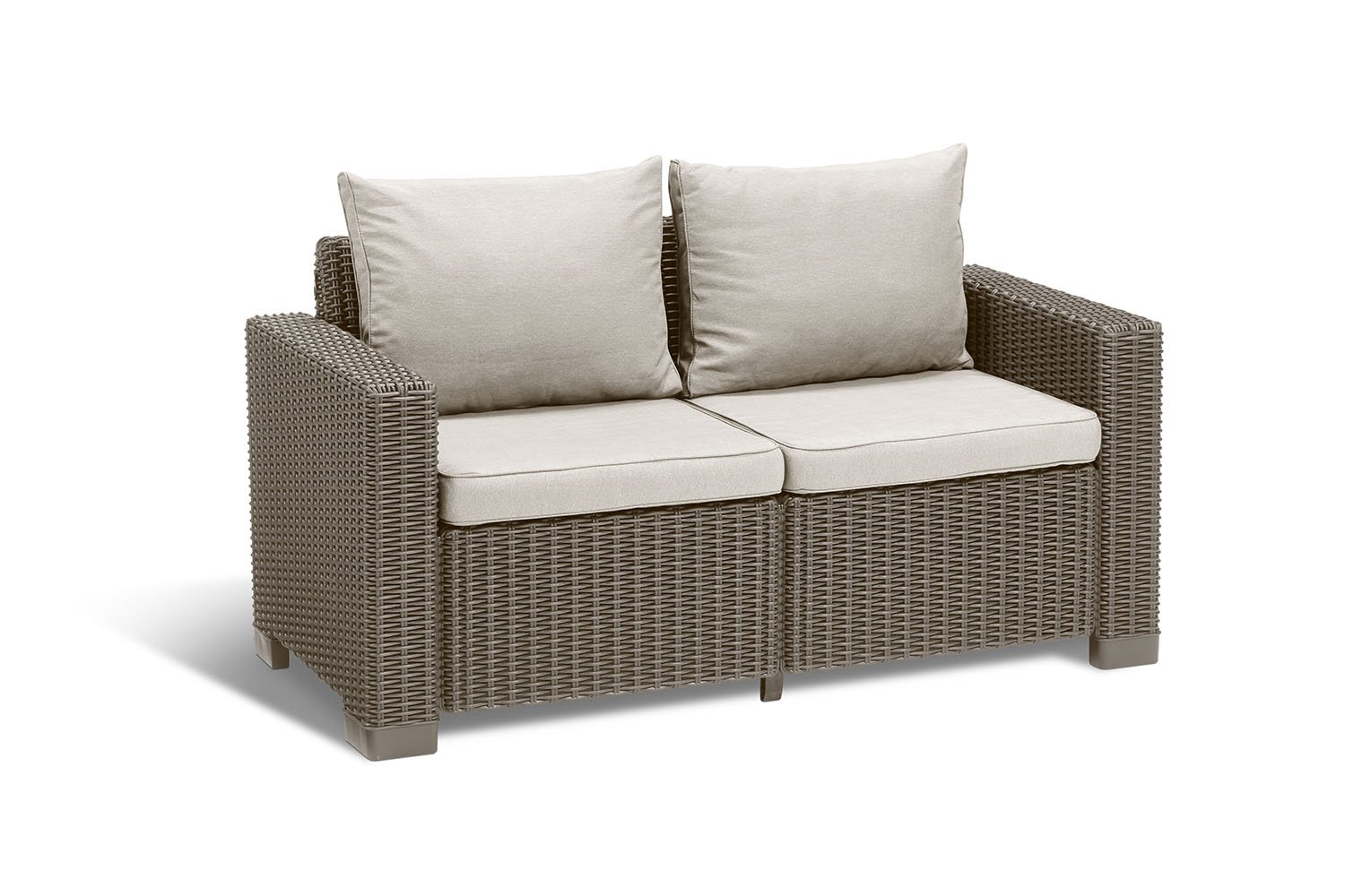 Keter California All Weather Outdoor 2-Seater Patio Sofa Loveseat with Cushions in a Resin Plastic Wicker Pattern, Cappuccino/Sand by Keter