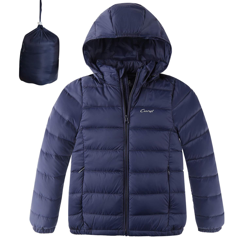 CUNYI Boys Girls Hooded Portable Lightweight Down Jacket Coats, Navy Blue, 9-10/150